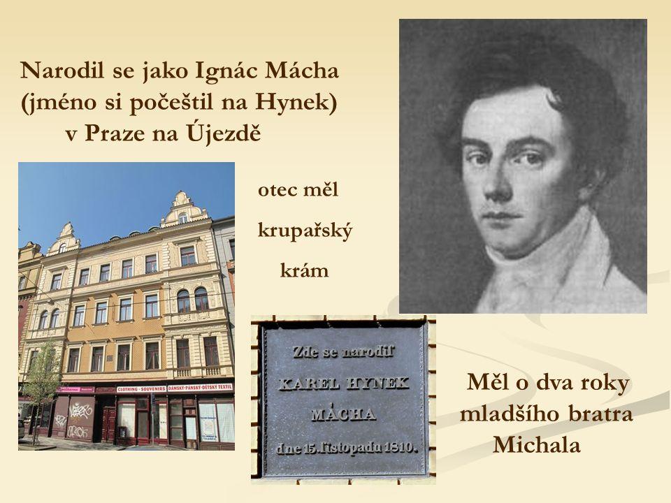 Narodil se jako Ignác Mácha (jméno si počeštil na Hynek) v Praze na Újezdě otec měl krupařský krám Měl o dva roky mladšího bratra Michala