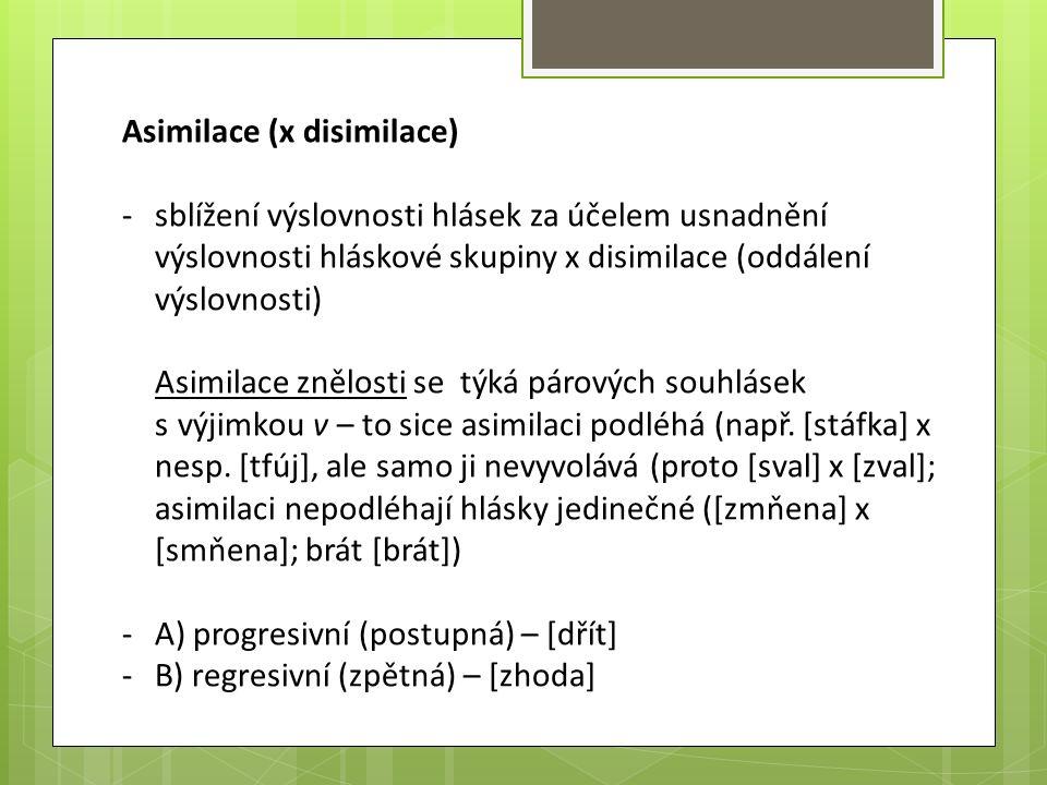 Asimilace (x disimilace) -sblížení výslovnosti hlásek za účelem usnadnění výslovnosti hláskové skupiny x disimilace (oddálení výslovnosti) Asimilace z