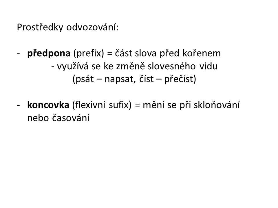 Prostředky odvozování: -předpona (prefix) = část slova před kořenem - využívá se ke změně slovesného vidu (psát – napsat, číst – přečíst) -koncovka (f
