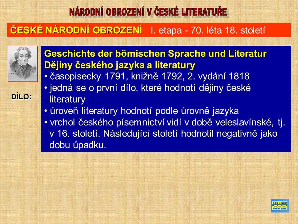 ČESKÉ NÁRODNÍ OBROZENÍ ČESKÉ NÁRODNÍ OBROZENÍ I. etapa - 70.