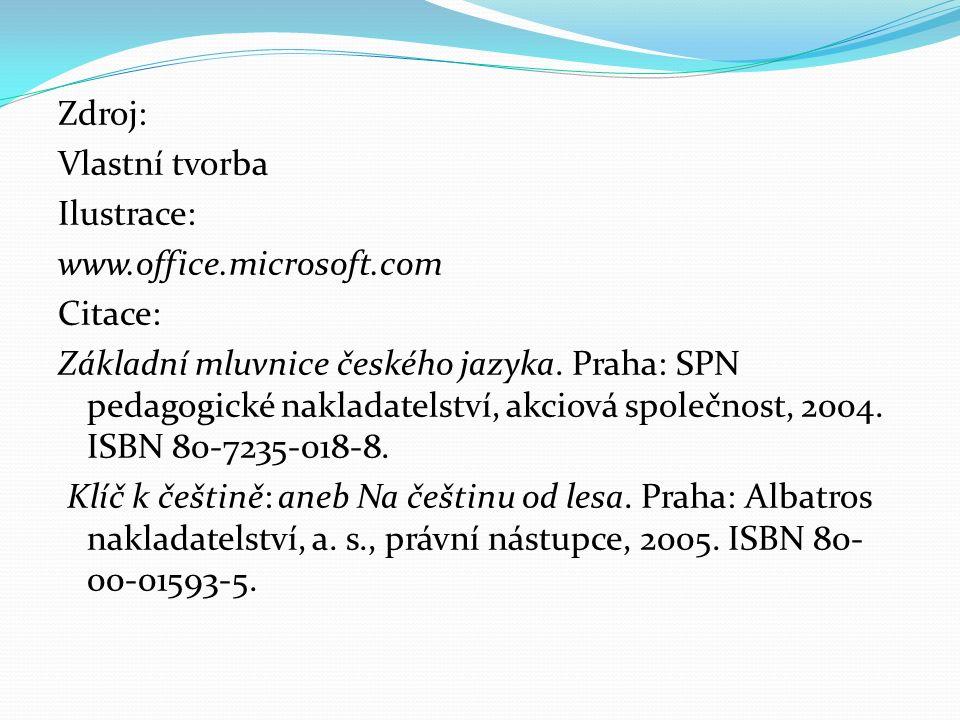 Zdroj: Vlastní tvorba Ilustrace: www.office.microsoft.com Citace: Základní mluvnice českého jazyka.