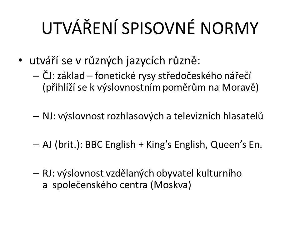 UTVÁŘENÍ SPISOVNÉ NORMY utváří se v různých jazycích různě: – ČJ: základ – fonetické rysy středočeského nářečí (přihlíží se k výslovnostním poměrům na Moravě) – NJ: výslovnost rozhlasových a televizních hlasatelů – AJ (brit.): BBC English + King's English, Queen's En.