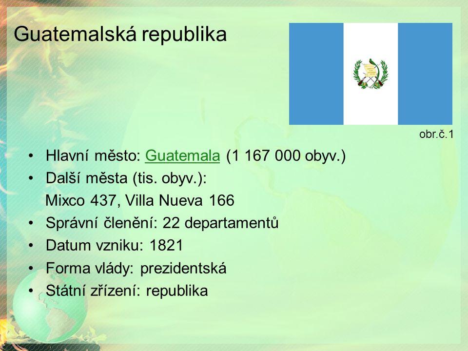 Guatemalská republika Hlavní město: Guatemala (1 167 000 obyv.)Guatemala Další města (tis.