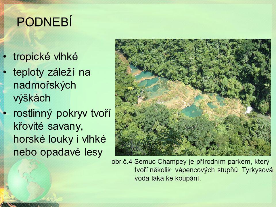 PODNEBÍ tropické vlhké teploty záleží na nadmořských výškách rostlinný pokryv tvoří křovité savany, horské louky i vlhké nebo opadavé lesy obr.č.4 Semuc Champey je přírodním parkem, který tvoří několik vápencových stupňů.
