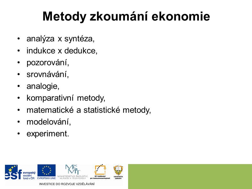 2. METODY ZKOUMÁNÍ EKONOMIE. NÁSTRAHY EKONOMIE A METODOLOGICKÁ ÚSKALÍ.