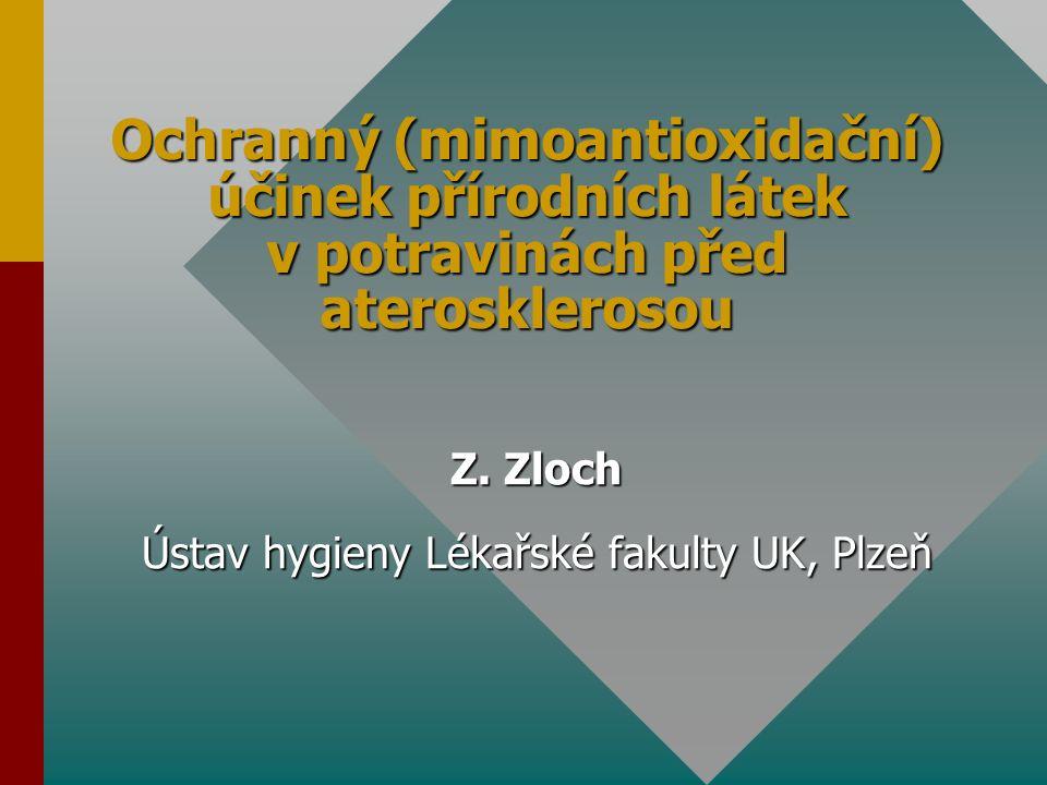Ochrana endotelu a jeho funkcí Flavonoidy a isoflavonoidy - snižují ztuhlost a rezistenci artérií inhibují nežádoucí proliferaci buněk hladkých svalů proliferaci buněk hladkých svalů potlačují jejich migraci z médie do subendoteliální vrstvy chrání endotel před záněty Flavonoly a katechiny - podporují aktivaci eNOS, a to stimulací fosforylace jejího apoproteinu (prostř.iInositol-3-kinasy, PKA aj.) ochraňují cAMP inhibicí PDE přímo stimulují v endotelových buňkách produkci cAMP přímo stimulují v endotelových buňkách produkci cAMP s násl.