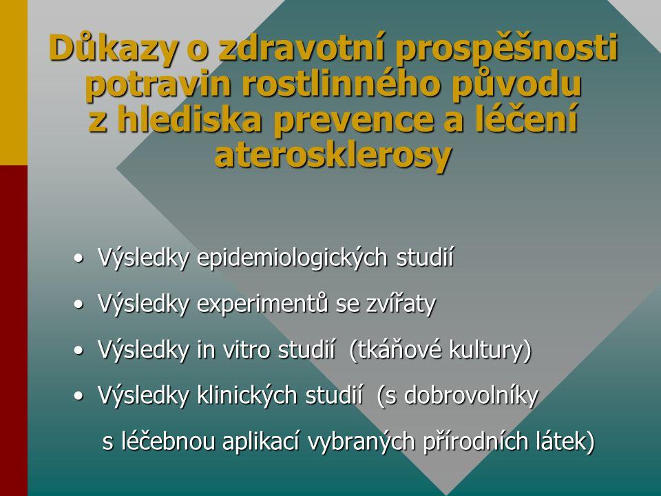 Důkazy o zdravotní prospěšnosti potravin rostlinného původu z hlediska prevence a léčení aterosklerosy Výsledky epidemiologických studiíVýsledky epidemiologických studií Výsledky experimentů se zvířatyVýsledky experimentů se zvířaty Výsledky in vitro studií (tkáňové kultury)Výsledky in vitro studií (tkáňové kultury) Výsledky klinických studií (s dobrovolníkyVýsledky klinických studií (s dobrovolníky s léčebnou aplikací vybraných přírodních látek) s léčebnou aplikací vybraných přírodních látek)