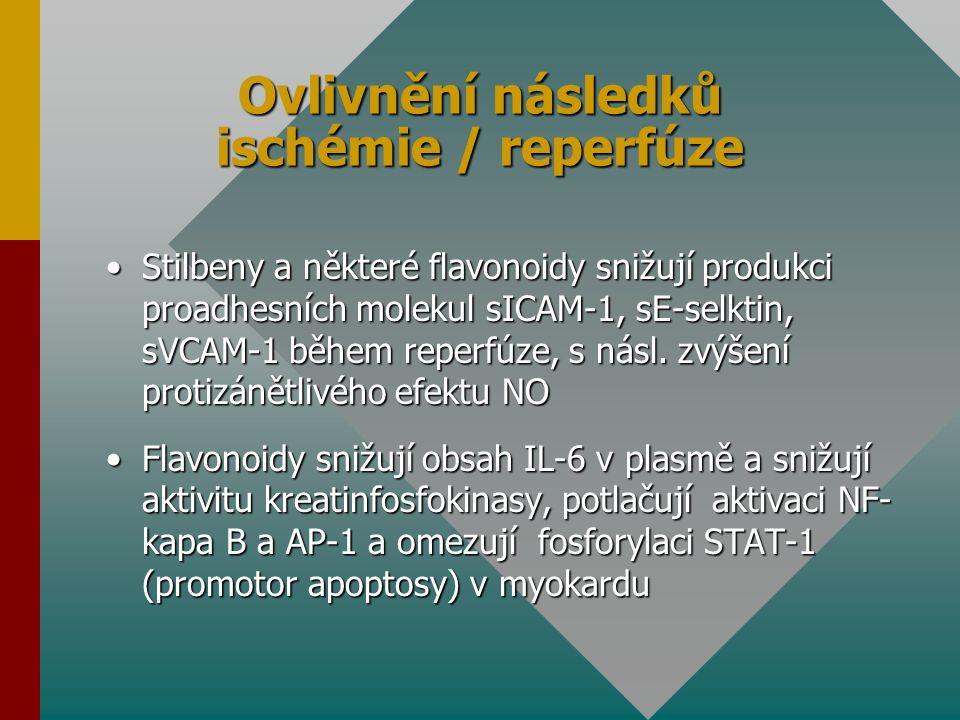 Ovlivnění následků ischémie / reperfúze Stilbeny a některé flavonoidy snižují produkci proadhesních molekul sICAM-1, sE-selktin, sVCAM-1 během reperfúze, s násl.