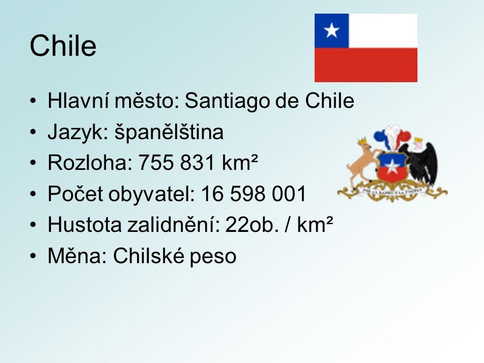 Chile Hlavní město: Santiago de Chile Jazyk: španělština Rozloha: 755 831 km² Počet obyvatel: 16 598 001 Hustota zalidnění: 22ob.