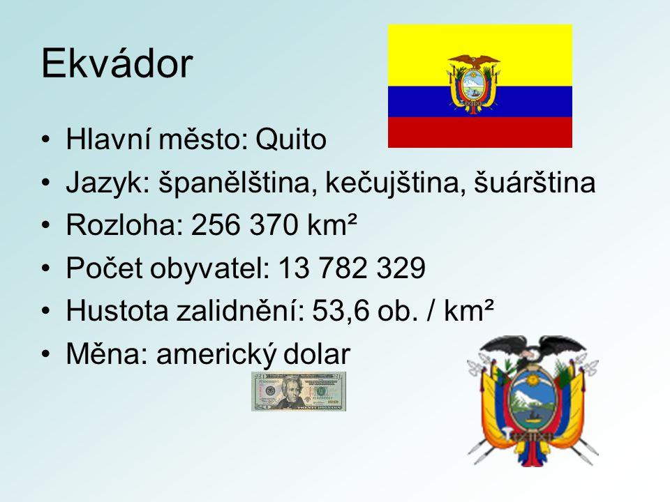 Ekvádor Hlavní město: Quito Jazyk: španělština, kečujština, šuárština Rozloha: 256 370 km² Počet obyvatel: 13 782 329 Hustota zalidnění: 53,6 ob.