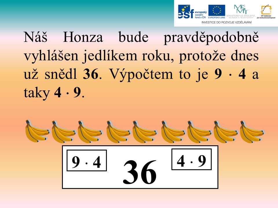 36 9  4 4  9 Náš Honza bude pravděpodobně vyhlášen jedlíkem roku, protože dnes už snědl 36. Výpočtem to je 9  4 a taky 4  9.