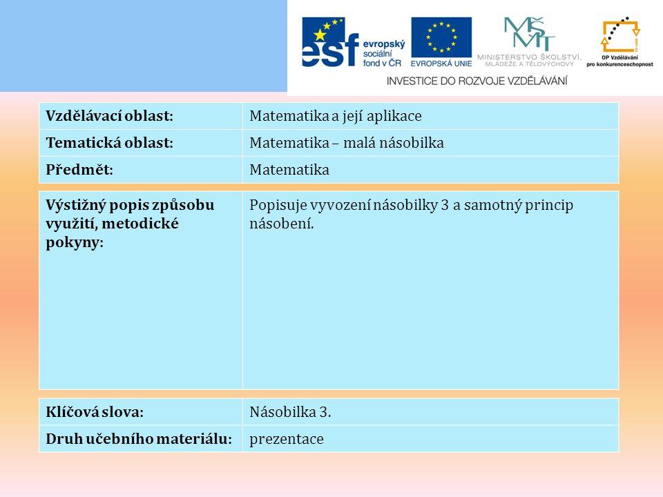 Vzdělávací oblast:Matematika a její aplikace Tematická oblast:Matematika – malá násobilka Předmět:Matematika Výstižný popis způsobu využití, metodické