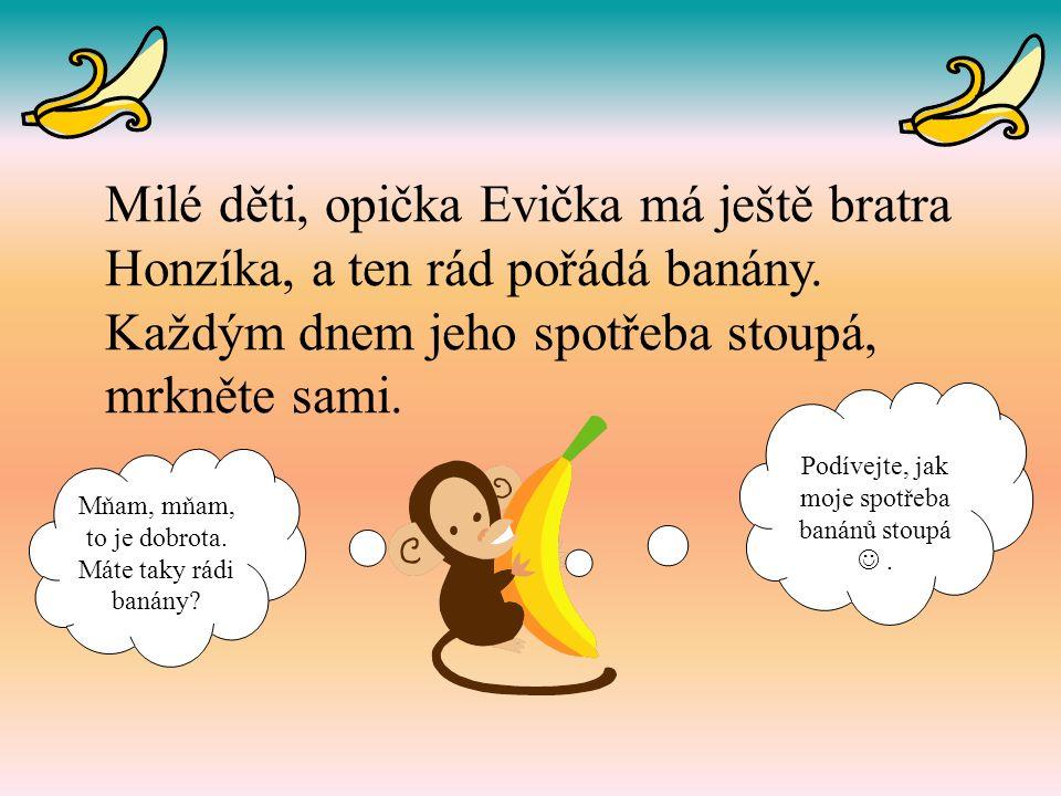 Milé děti, opička Evička má ještě bratra Honzíka, a ten rád pořádá banány.