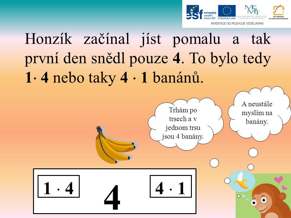 4 1  44  1 Honzík začínal jíst pomalu a tak první den snědl pouze 4. To bylo tedy 1  4 nebo taky 4  1 banánů. A neustále myslím na banány. Trhám p