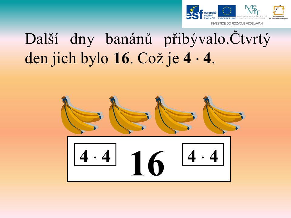 16 4  4 Další dny banánů přibývalo.Čtvrtý den jich bylo 16. Což je 4  4.