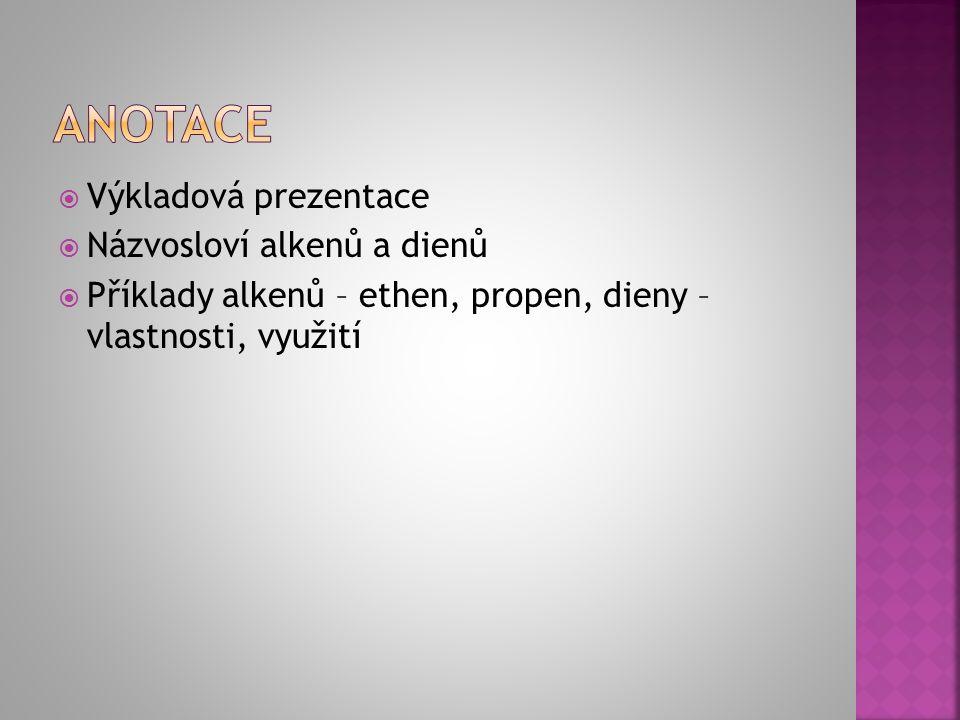  Výkladová prezentace  Názvosloví alkenů a dienů  Příklady alkenů – ethen, propen, dieny – vlastnosti, využití