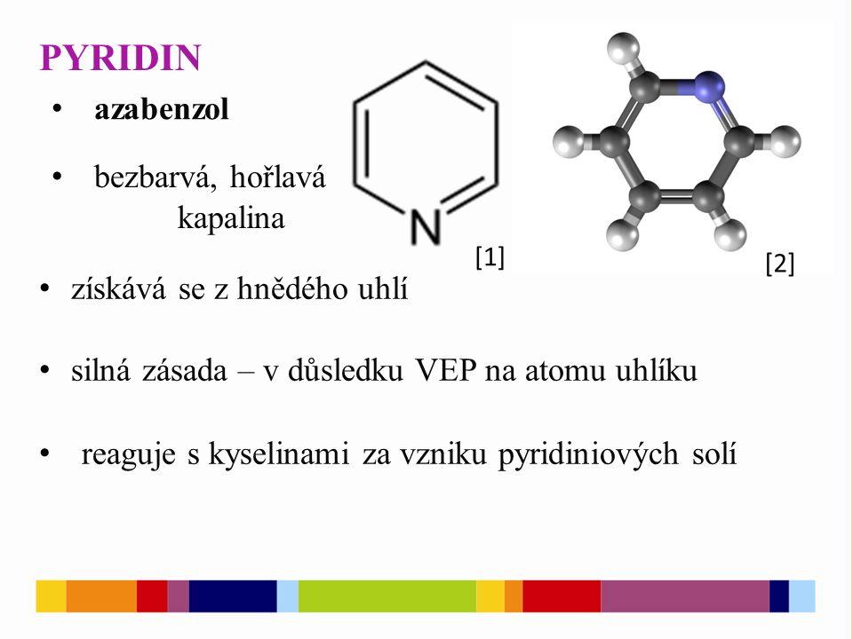 PYRIDIN [1] [2] azabenzol bezbarvá, hořlavá kapalina získává se z hnědého uhlí silná zásada – v důsledku VEP na atomu uhlíku reaguje s kyselinami za v