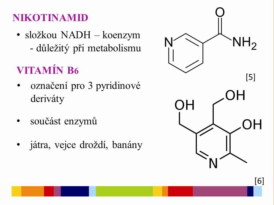 NIKOTINAMID [5] [6] složkou NADH – koenzym - důležitý při metabolismu VITAMÍN B 6 označení pro 3 pyridinové deriváty součást enzymů játra, vejce droždí, banány