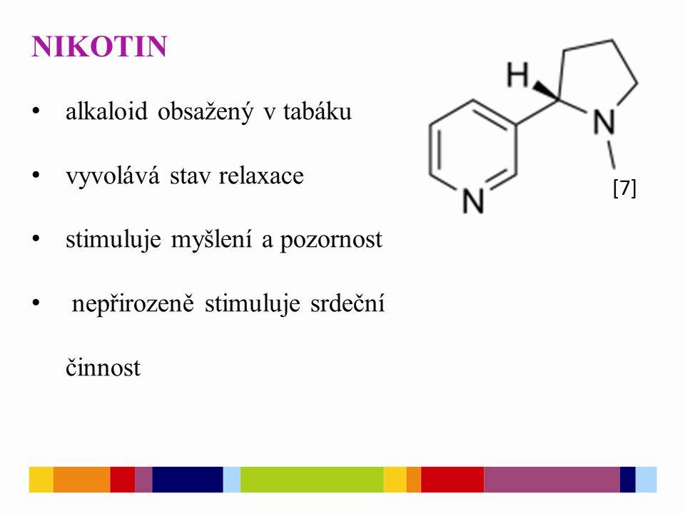 NIKOTIN [7] alkaloid obsažený v tabáku vyvolává stav relaxace stimuluje myšlení a pozornost nepřirozeně stimuluje srdeční činnost