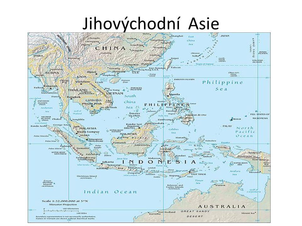 Poloha Oblast leží východně od Indie a jižně od Číny – Kdysi název Indočína a Siam Oblast zahrnuje: – Poloostrov Zadní Indie a Malajský poloostrov – Velké a Malé Sundy – Filipíny Oblast leží v místě, kde se stýkají lit.