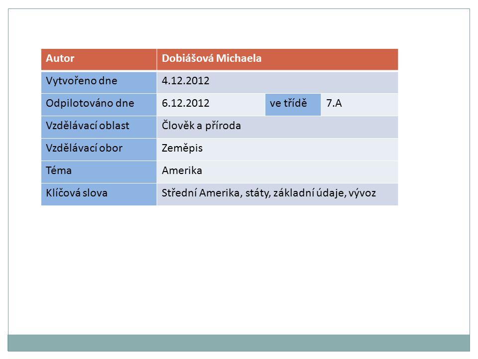 AutorDobiášová Michaela Vytvořeno dne4.12.2012 Odpilotováno dne6.12.2012ve třídě7.A Vzdělávací oblastČlověk a příroda Vzdělávací oborZeměpis TémaAmerika Klíčová slovaStřední Amerika, státy, základní údaje, vývoz