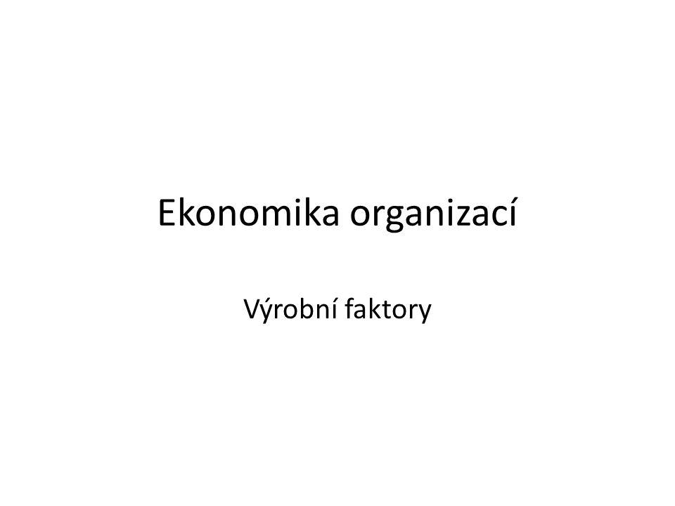 Ekonomika organizací Výrobní faktory