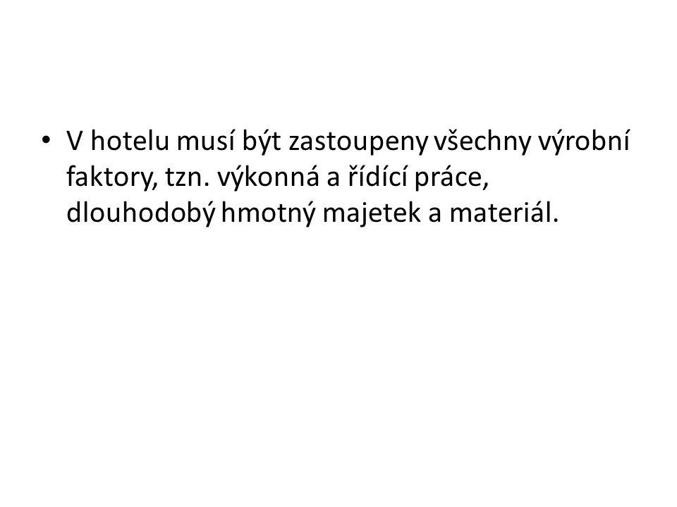 V hotelu musí být zastoupeny všechny výrobní faktory, tzn.