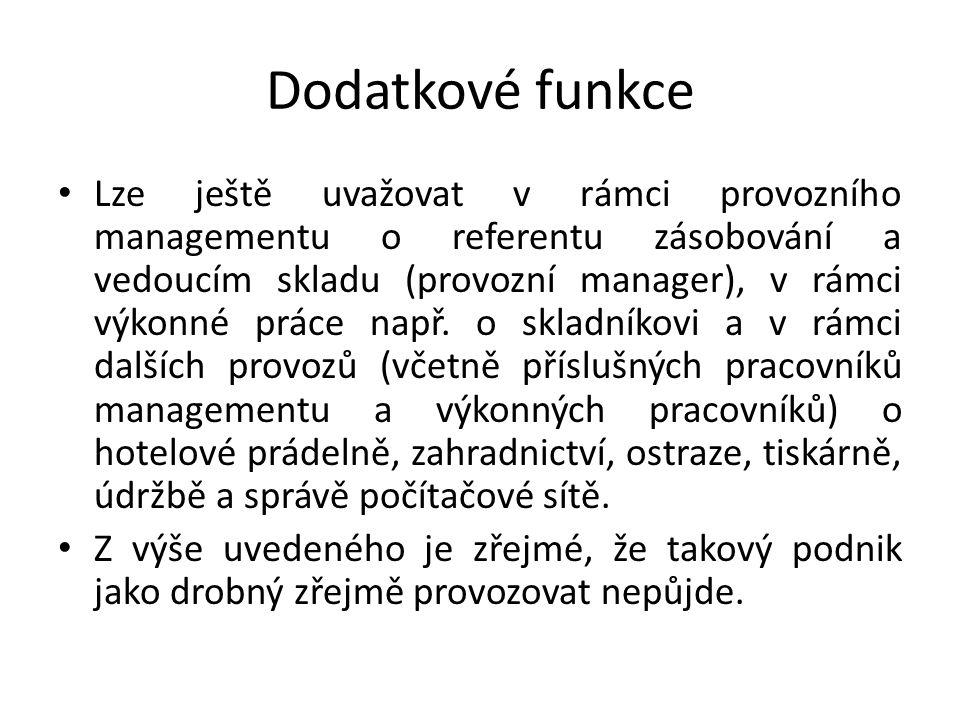 Příklad 2 V návaznosti na příklad 1 určete které funkce budou plnit jednotliví pracovníci managementu.