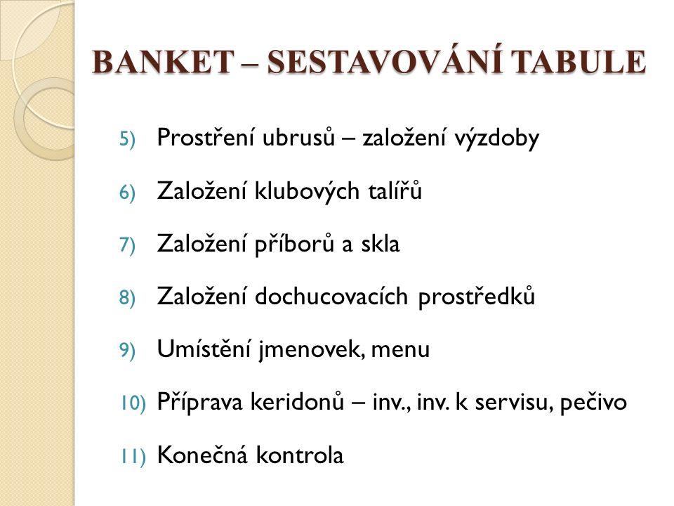BANKET – SESTAVOVÁNÍ TABULE Prostírání ubrusů 1.Všechny stoly vyrovnané a pokryté moltonem 2.