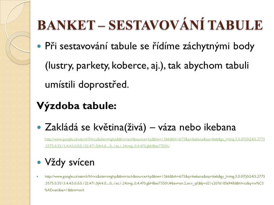 BANKET – SESTAVOVÁNÍ TABULE Při sestavování tabule se řídíme záchytnými body (lustry, parkety, koberce, aj.), tak abychom tabuli umístili doprostřed.