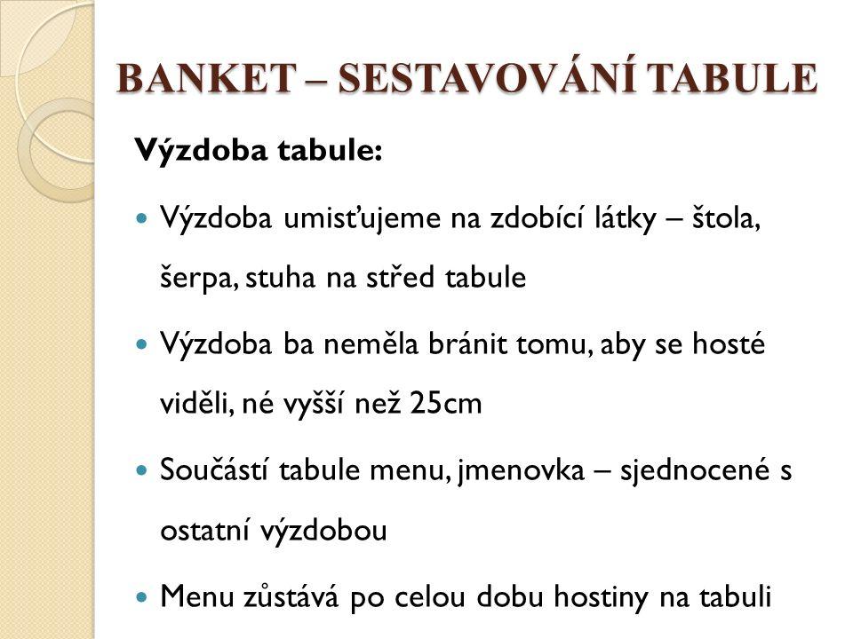 BANKET – SESTAVOVÁNÍ TABULE Tabule pro 2 http://www.google.cz/imgres?q=slavnostn%C3%AD+tabule+menu&hl=cs&biw=1366&bih=673&tbm=isch&tbnid=w98vL Nm4xeHxqM:&imgrefurl=http://www.bmtypo.cz/article/264-vystava-slavnostnich-tabuli-zaku- iss.html&docid=m8NrnVWOQ93nDM&imgurl=http://www.bmtypo.cz/photobank/2735.jpg&w=800&h=533&ei=L60EUp noHoa74ASnjoD4Bg&zoom=1&ved=1t:3588,r:1,s:0,i:83&iact=rc&page=1&tbnh=179&tbnw=242&start=0&ndsp=17&tx= 150&ty=99#imgdii=_ Tabule http://www.google.cz/imgres?q=slavnostn%C3%AD+tabule+n%C3%A1kres&hl=cs&biw=1366&bih=673&tbm=isch&tbnid =mjDSvK3jRw6jYM:&imgrefurl=http://www.uholubu.com/www/cz/slavnostni- tabule/&docid=_fFFBW28ZqGy6M&imgurl=http://cms2.netnews.cz/files/images/755620568/14444-svatebni- tabule16.jpg&w=800&h=533&ei=Y6wEUqCnBOqB4gTx6ICABQ&zoom=1&ved=1t:3588,r:18,s:0,i:134&iact=rc&page=2 &tbnh=177&tbnw=249&start=18&ndsp=25&tx=105&ty=107#imgdii=_ http://www.google.cz/imgres?q=slavnostn%C3%AD+tabule+pro+6+osob&hl=cs&biw=1366&bih=673&tbm=isch&tbnid= yEyWY74kf-ye5M:&imgrefurl=http://www.gastropruvodce.cz/43-restaurace- saman.html%3Fid%3D25866&docid=02WcQb1yejKJZM&imgurl=http://www.gastropruvodce.cz/foto/fotogalerie_provoz ovny/1250010425_slavnostni- tabule.jpg&w=802&h=600&ei=DK4EUsOdGeeS4ASQzYEg&zoom=1&ved=1t:3588,r:6,s:0,i:98&iact=rc&page=1&tbnh=1 79&tbnw=256&start=0&ndsp=15&tx=123&ty=76
