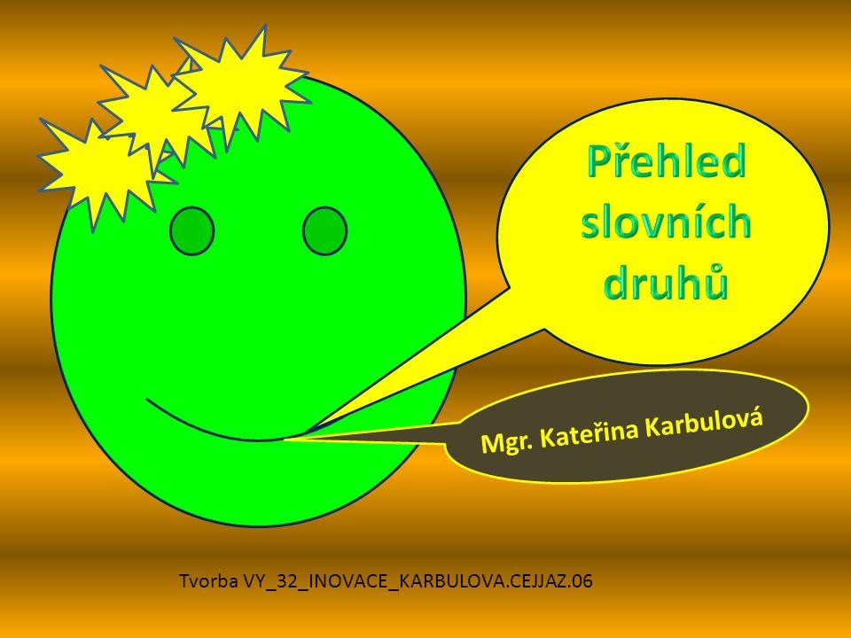 Mgr. Kateřina Karbulová Tvorba VY_32_INOVACE_KARBULOVA.CEJJAZ.06