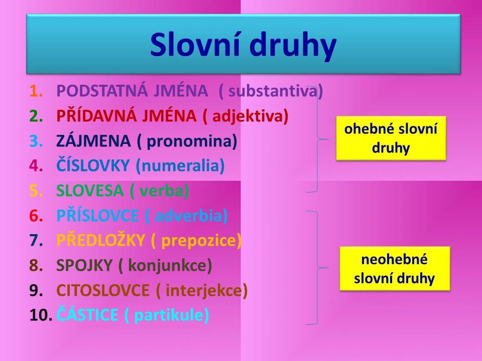 Slovní druhy 1.PODSTATNÁ JMÉNA ( substantiva) 2.PŘÍDAVNÁ JMÉNA ( adjektiva) 3.ZÁJMENA ( pronomina) 4.ČÍSLOVKY (numeralia) 5.SLOVESA ( verba) 6.PŘÍSLOV