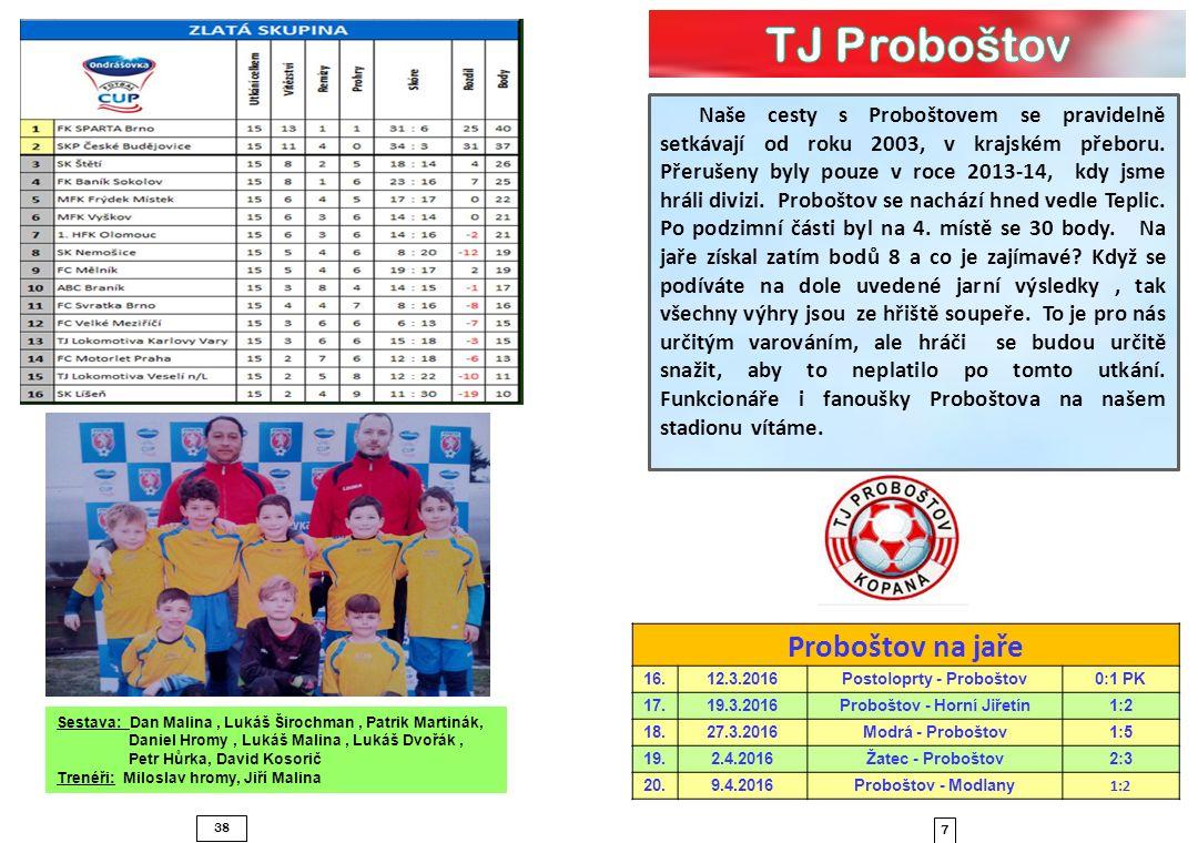 38 7 Naše cesty s Proboštovem se pravidelně setkávají od roku 2003, v krajském přeboru. Přerušeny byly pouze v roce 2013-14, kdy jsme hráli divizi. Pr