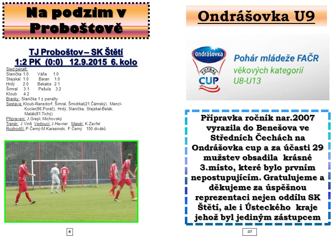 837 Na podzim v Proboštově Přípravka ročník nar.2007 vyrazila do Benešova ve Středních Čechách na Ondrášovka cup a za účasti 29 mužstev obsadila krásné 3.místo, které bylo prvním nepostupujícím.