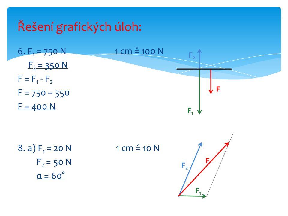 6. F 1 = 750 N 1 cm =̂ 100 N F 2 = 350 N F = F 1 - F 2 F = 750 – 350 F = 400 N 8. a) F 1 = 20 N 1 cm =̂ 10 N F 2 = 50 N α = 60° Řešení grafických úloh