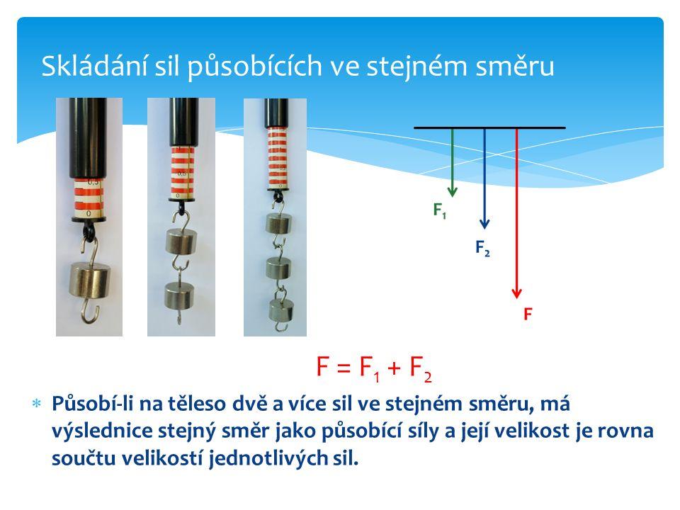 F = F 1 + F 2  Působí-li na těleso dvě a více sil ve stejném směru, má výslednice stejný směr jako působící síly a její velikost je rovna součtu veli
