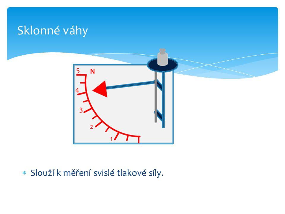  Slouží k měření svislé tlakové síly. Sklonné váhy