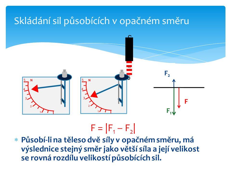 F = |F 1 – F 2 |  Působí-li na těleso dvě síly v opačném směru, má výslednice stejný směr jako větší síla a její velikost se rovná rozdílu velikostí