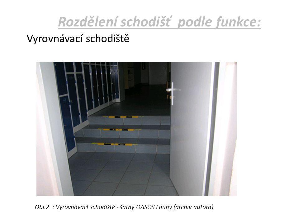 Podle umístění: 1.vnitřní - uvnitř budovy (hlavní, vedlejší, podružná, požární) 2.vnější – a) předložená – navazují na provoz budovy b) terénní – překonávají různou výškovou úroveň terénu Rozdělení schodišť