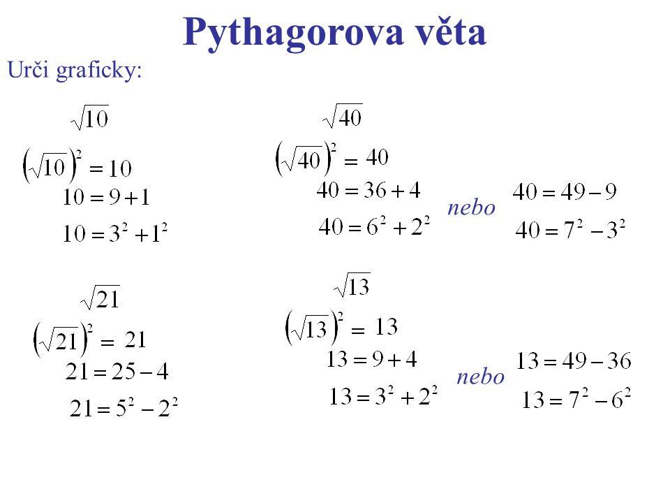 Pythagorova věta Urči graficky: nebo