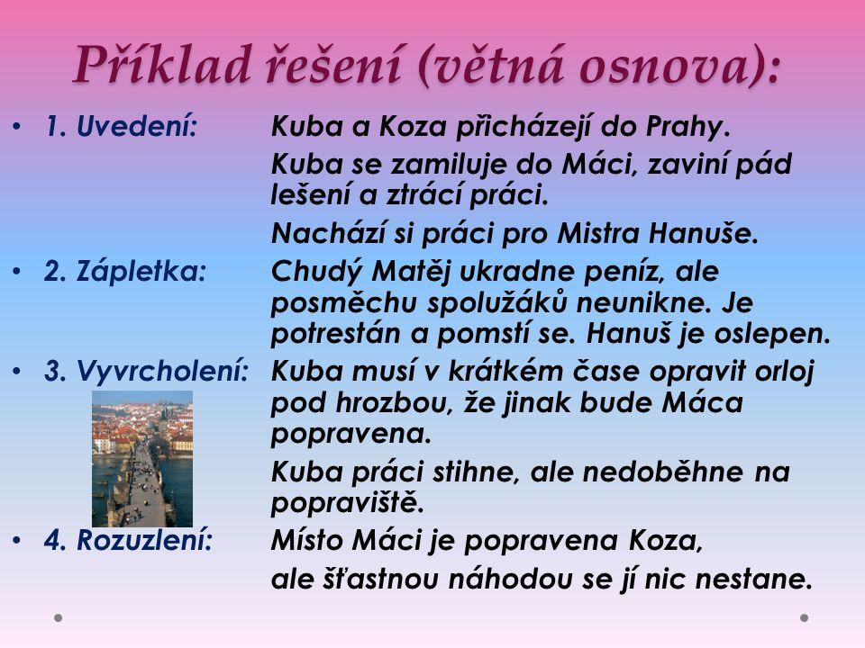 Příklad řešení (větná osnova): 1. Uvedení: Kuba a Koza přicházejí do Prahy.