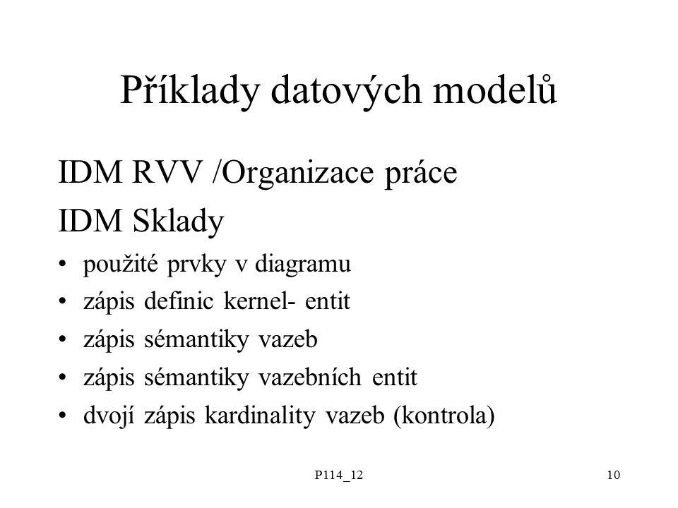 P114_1210 Příklady datových modelů IDM RVV /Organizace práce IDM Sklady použité prvky v diagramu zápis definic kernel- entit zápis sémantiky vazeb zápis sémantiky vazebních entit dvojí zápis kardinality vazeb (kontrola)