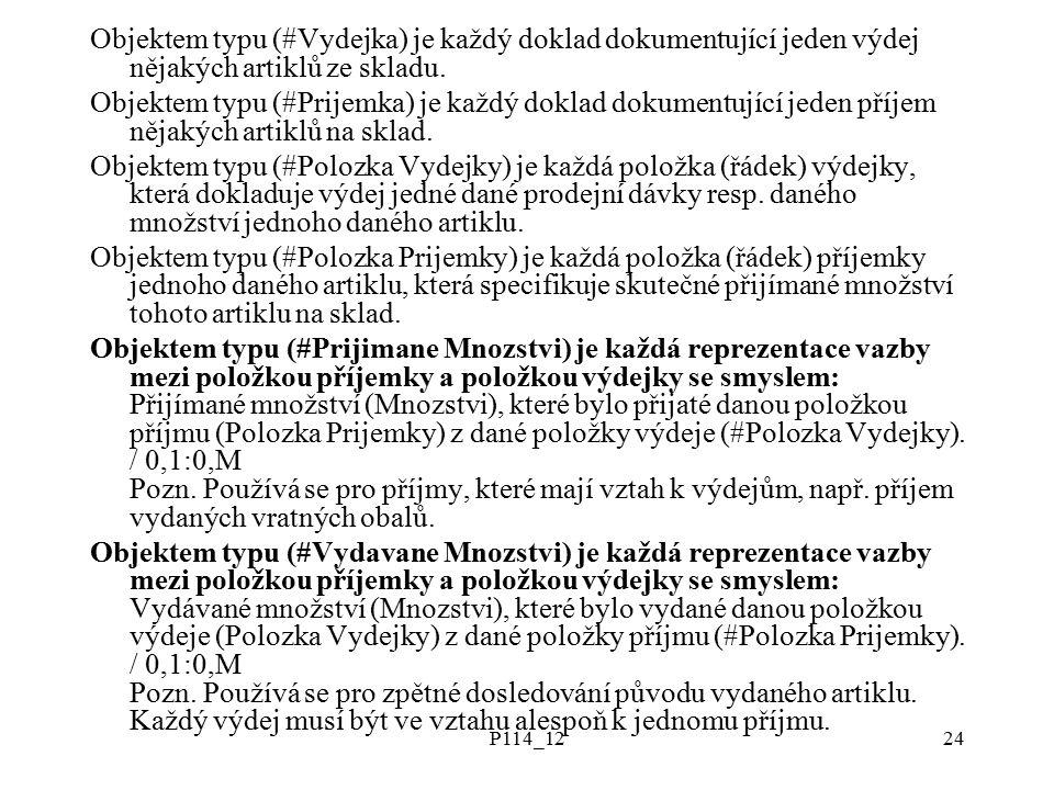 P114_1224 Objektem typu (#Vydejka) je každý doklad dokumentující jeden výdej nějakých artiklů ze skladu.