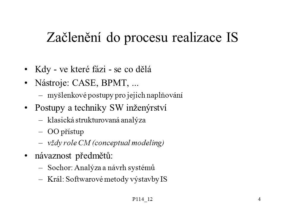 P114_124 Začlenění do procesu realizace IS Kdy - ve které fázi - se co dělá Nástroje: CASE, BPMT,...
