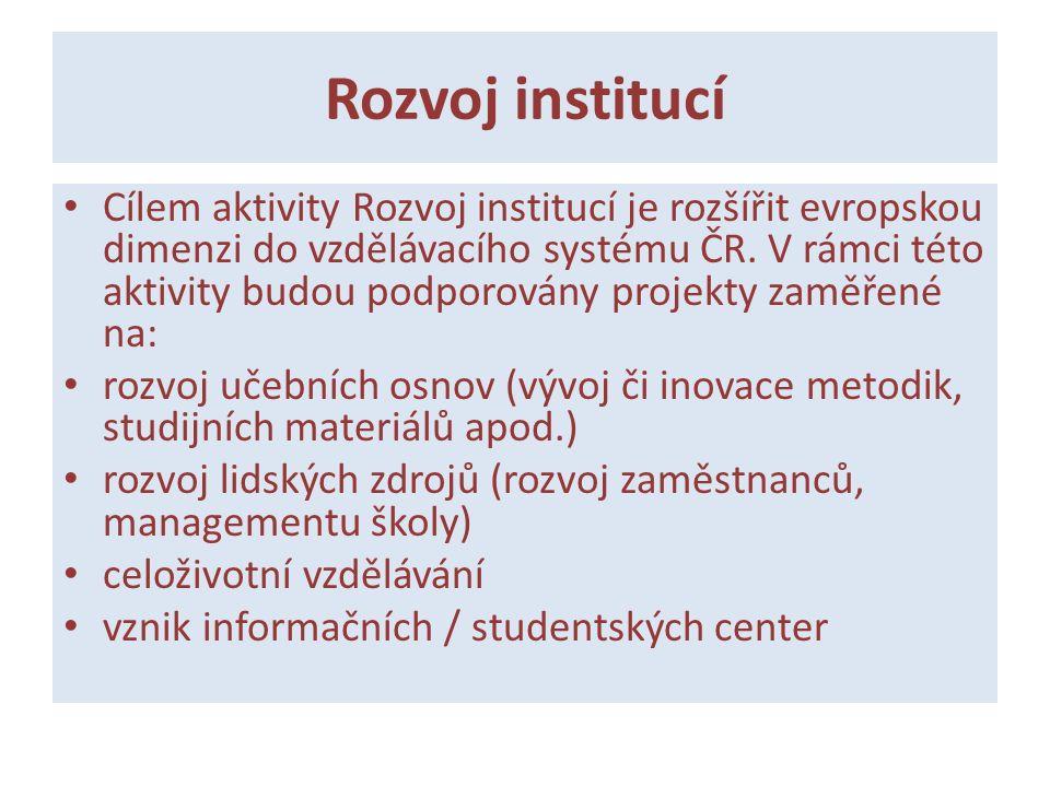 Rozvoj institucí Cílem aktivity Rozvoj institucí je rozšířit evropskou dimenzi do vzdělávacího systému ČR. V rámci této aktivity budou podporovány pro