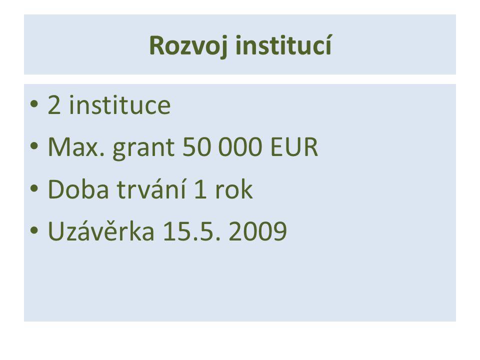 Rozvoj institucí 2 instituce Max. grant 50 000 EUR Doba trvání 1 rok Uzávěrka 15.5. 2009