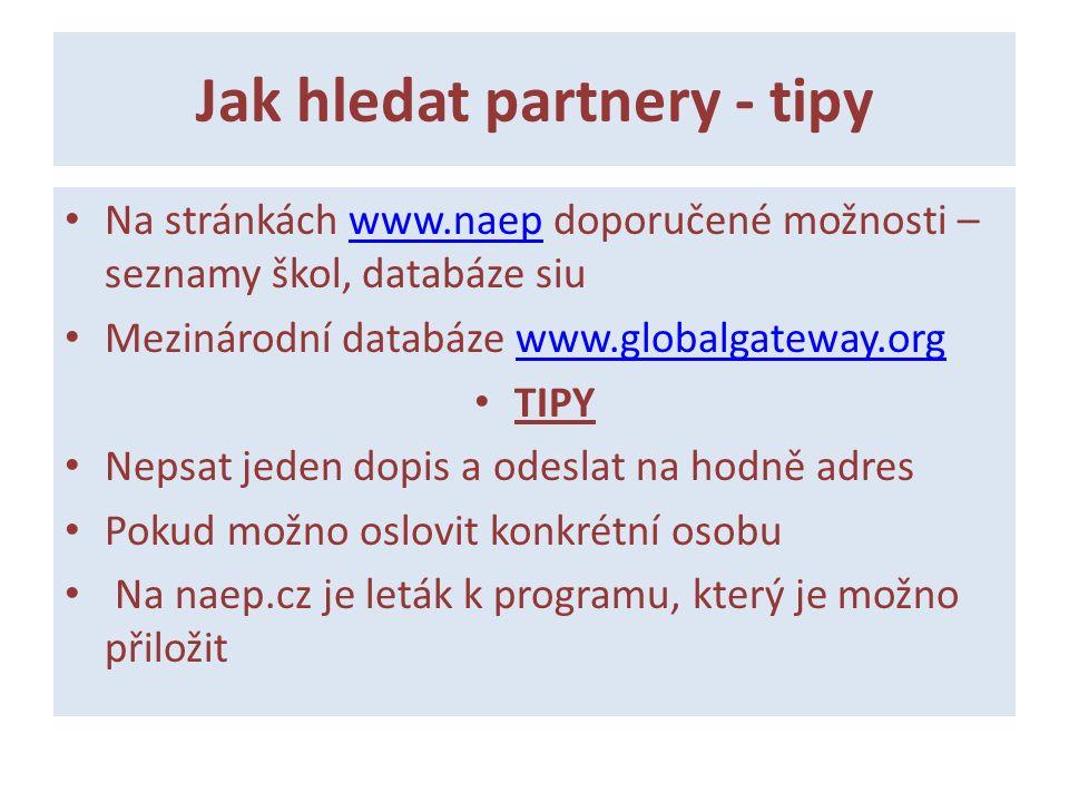 Jak hledat partnery - tipy Na stránkách www.naep doporučené možnosti – seznamy škol, databáze siuwww.naep Mezinárodní databáze www.globalgateway.orgww