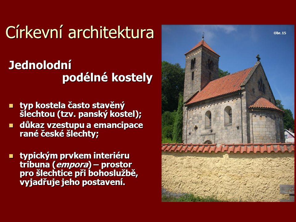 Církevní architektura Jednolodní podélné kostely typ kostela často stavěný šlechtou (tzv. panský kostel); typ kostela často stavěný šlechtou (tzv. pan