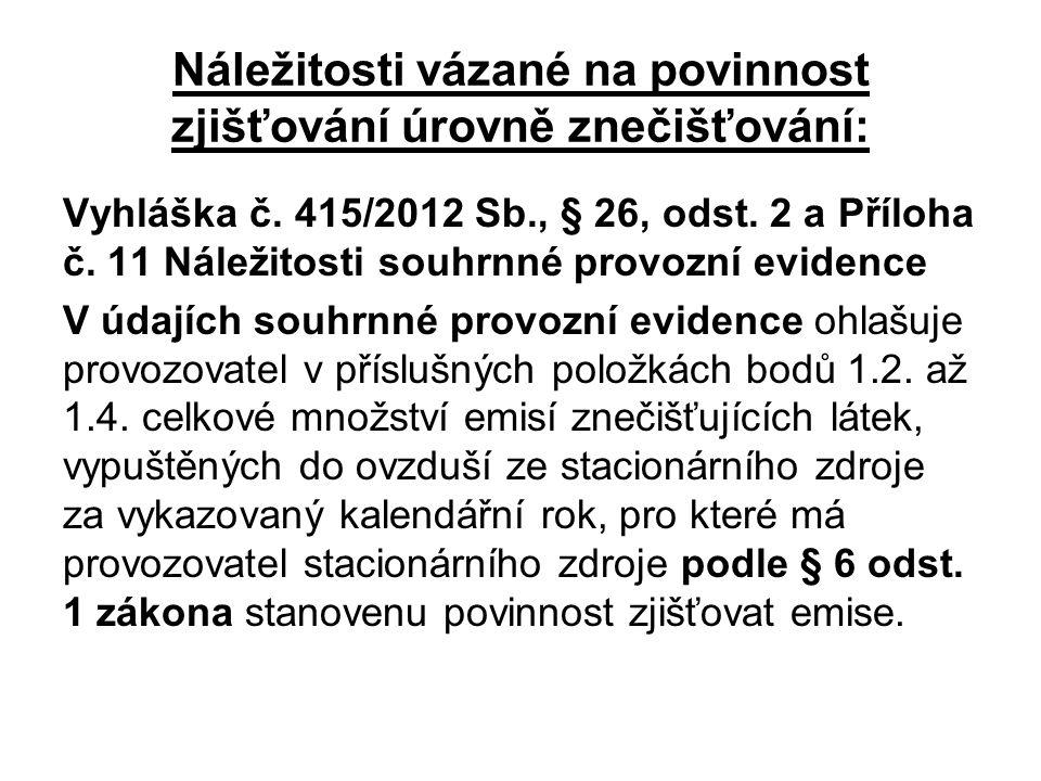Náležitosti vázané na povinnost zjišťování úrovně znečišťování: Vyhláška č.
